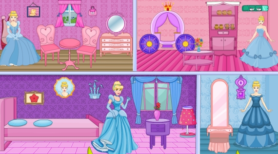 Princess Cinderella Doll House Decor Game